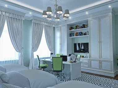 The style of the madern bedroom interior