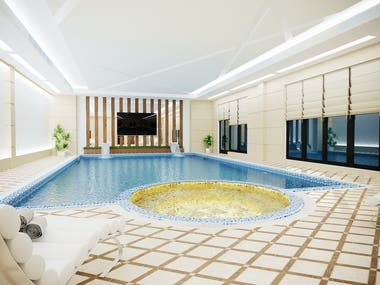 The style of the modern pool interior