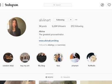 Instagram handler for Alviinart