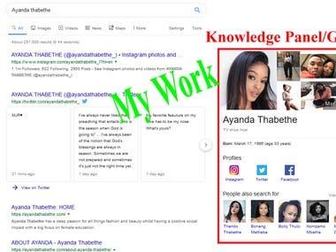 Google Knowledge Panel / Graph