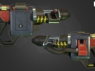 sci-fi 3d gun with PBR texture