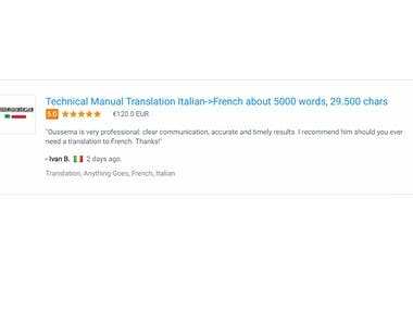 Italian to french translation