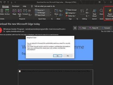 Outlook plugin to forward emails