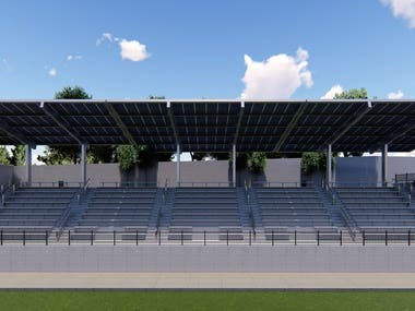 Stadium competition with solar roofs