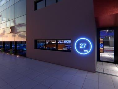 Rendering of interior spaces - Restaurant 27bbq (iceland)