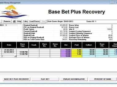 The program to calculate horse racing bets