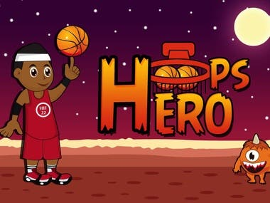 Hoops Hero 2D Game Art.