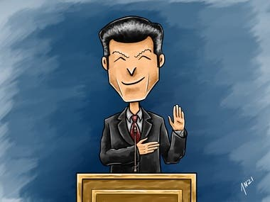 Cheeky Politician Taking Oath (original style of my own)