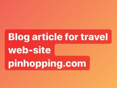 Article for travel web-site pinhopping.com