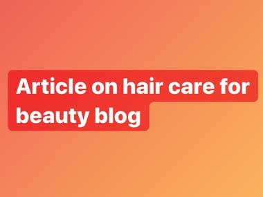 Article on hair care for beauty blog
