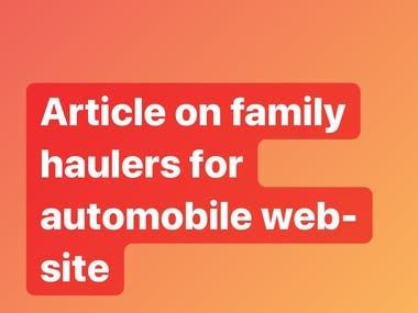 Article on family haulers for automobiles web-site