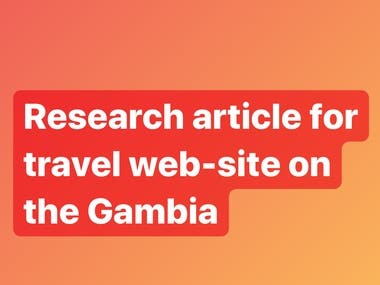 Research article for travel web-site on trade in the Gambia