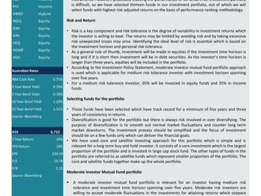 Mutual Fund and ETF Investment Research Analysis Report