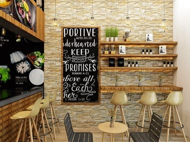 Interior design for coffee shop - Saudi Arabia