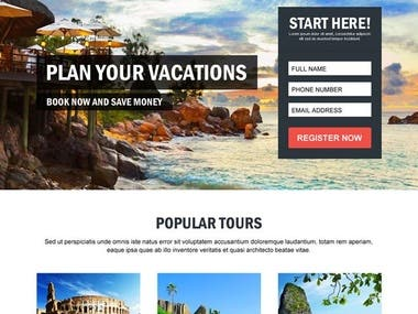 Landing page for travel industry