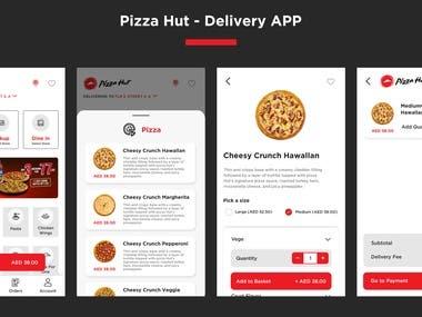 UI/UX of Pizza Hut of UAE.