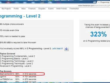 the 1st rank (top rank)in freelancer site in c level 2 Exams