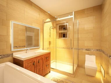Bathroom 3d rendering and modelling.