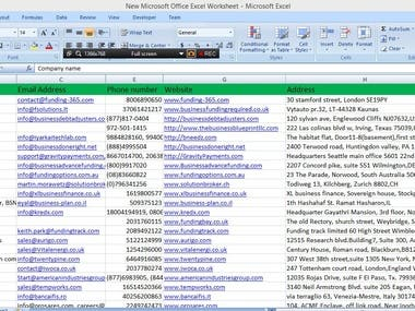 Web Research, Data entries, Market search