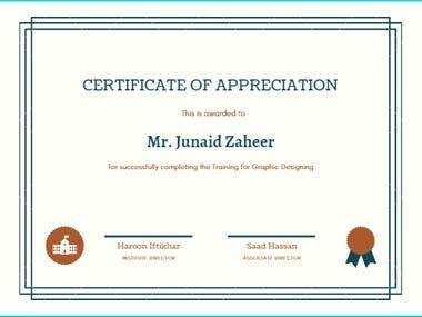 Certificate of Appreciation (Graphic Designing)