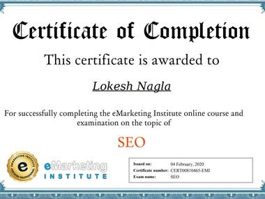 Certificate of the SEO exam by E-marketing institute