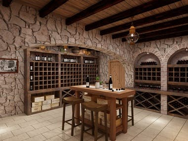 Wine Cellar Rendering Realistic