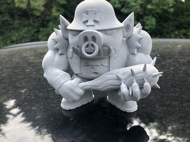 Hollow printed character.