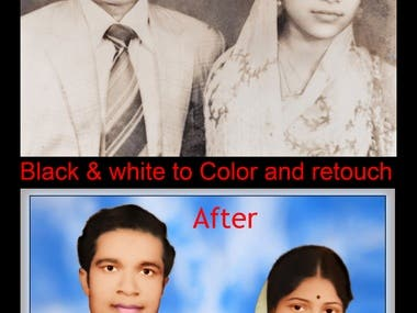 Black & white to color and retouch