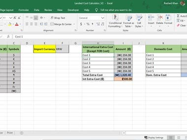 Landed Cost Calculator (Product Import Cost)