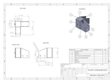 GANTRY CORNER BRACKET - MODELING, DRAWING IN SOLIDWORKS