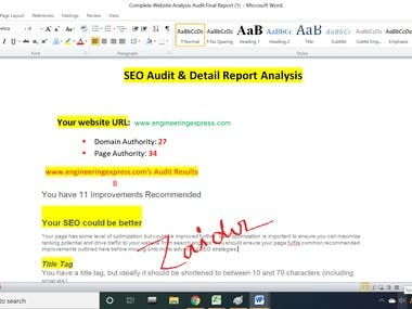SEO Audit for engineeringexpress.com