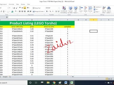 Product Listing Data Entry (LEGO TORSO)