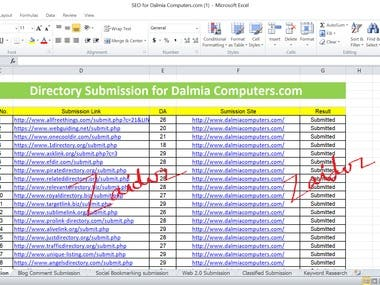 SEO OFF Page and SMO for Dalmia Computers