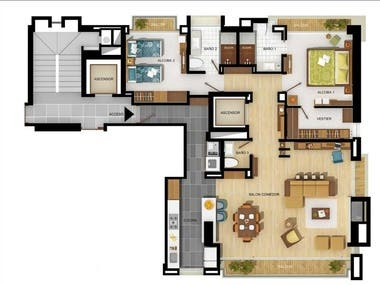 Render detail of exclusive apartments in Bogota