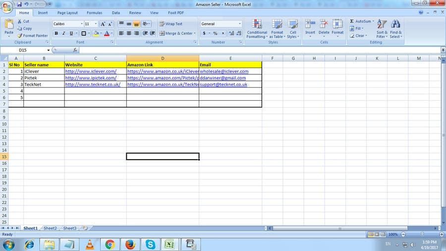 Proposition n°2 du concours list of 500 UK amazon electonic business sellers