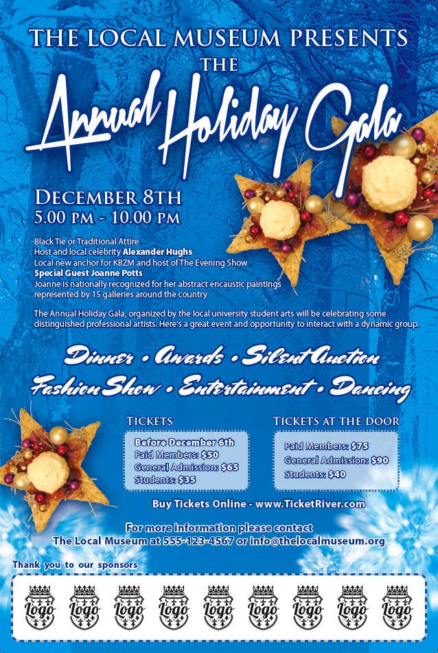 Конкурсная заявка №4 для Print & Packaging Design for Full color, eye catching poster & event ticket for a HOLIDAY GALA