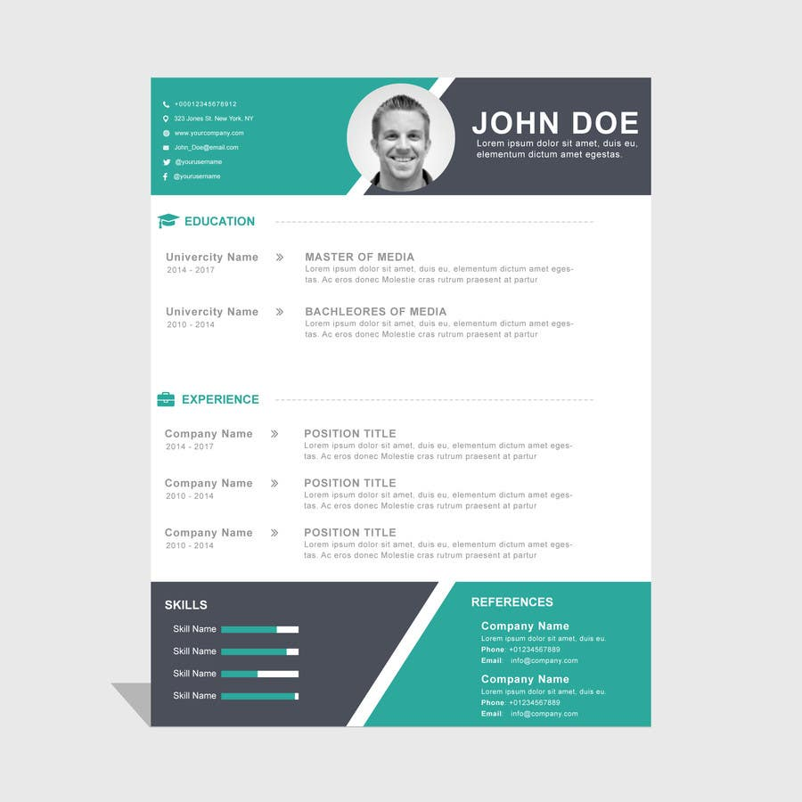 Proposition n°1 du concours i need some design for my resume