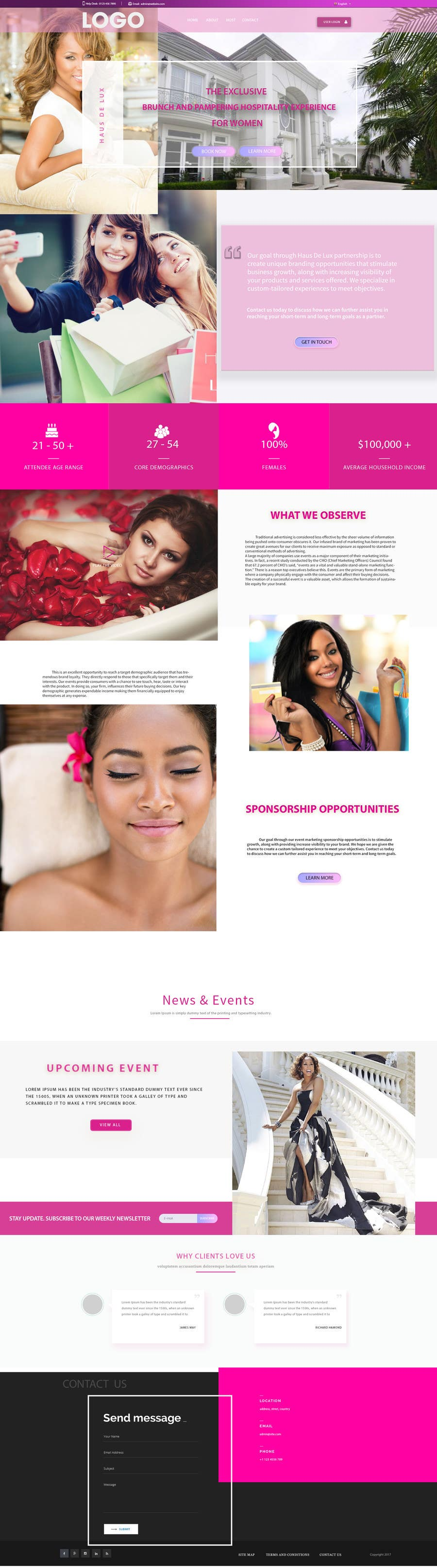 Proposition n°14 du concours Parallax web design for women brunch & pampering experience.