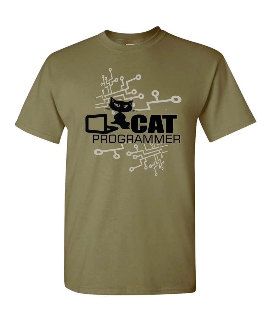 "Kilpailutyö #9 kilpailussa T-shirt design ""Cat-programmer"""