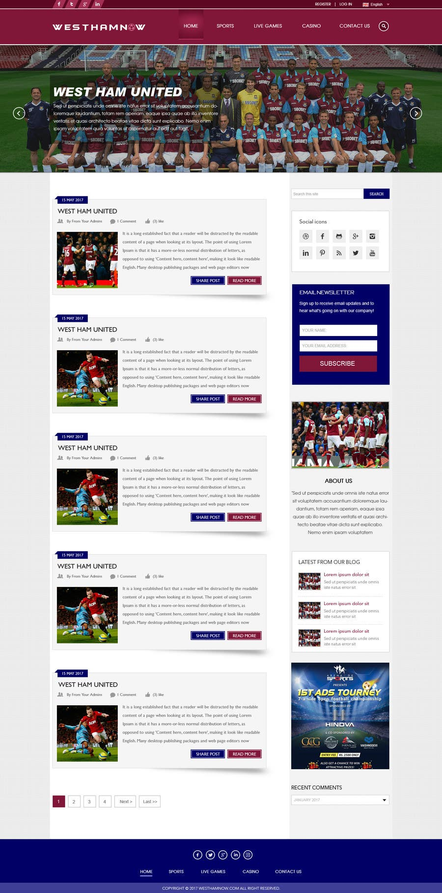 Proposition n°4 du concours Wordpress Football Blog (WESTHAMNOW)