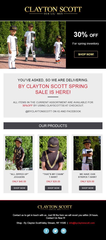 Proposition n°3 du concours Design a email template for a online shop