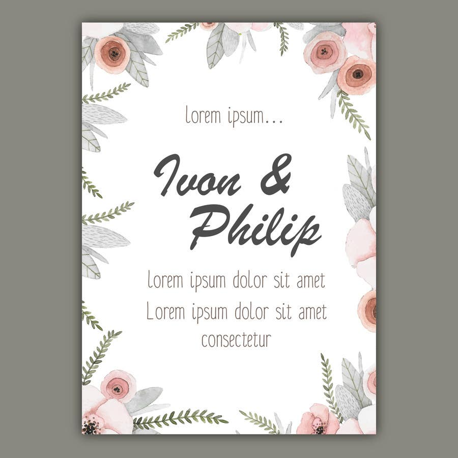 Contest Entry #3 for Floral themed wedding invitation set
