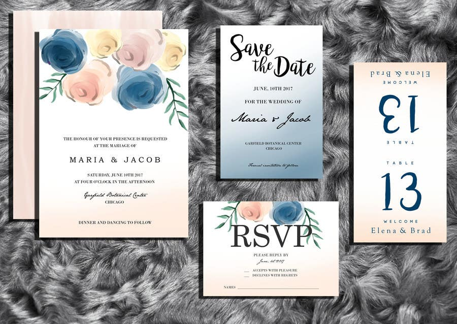 Contest Entry #16 for Floral themed wedding invitation set