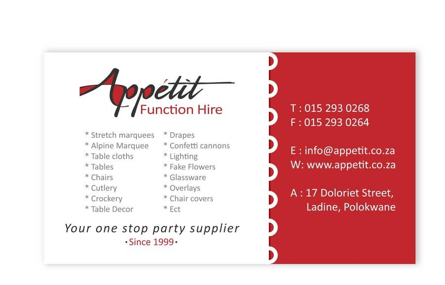Print Contest Entry #9 for Business Card Design for Appétit Function Hire