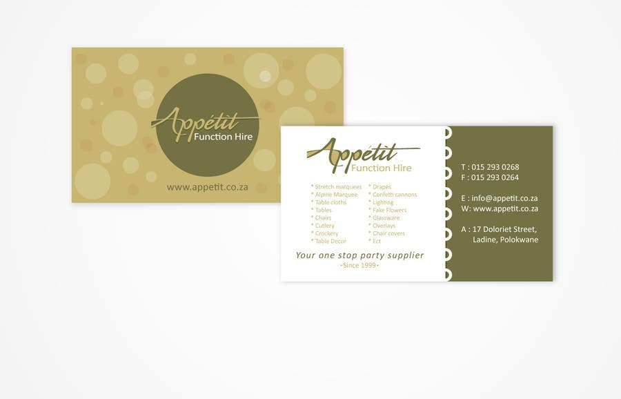 Business Cards Contest Entry #13 for Business Card Design for Appétit Function Hire
