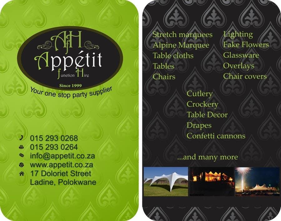 Proposition n°                                        70                                      du concours                                         Business Card Design for Appétit Function Hire