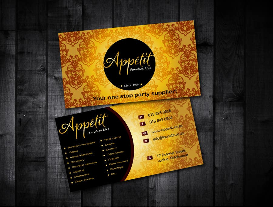 Proposition n°                                        68                                      du concours                                         Business Card Design for Appétit Function Hire