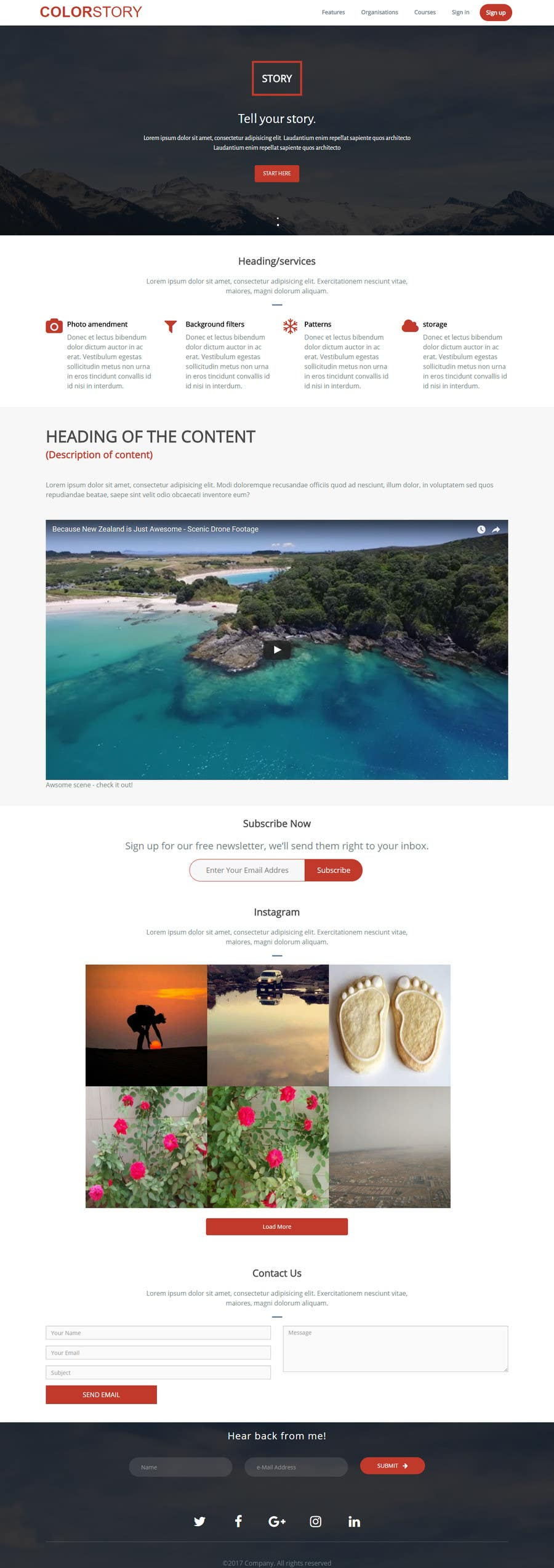 Proposition n°6 du concours 1 page - landing page in html / CSS for a mobile app w/ Instagram feed