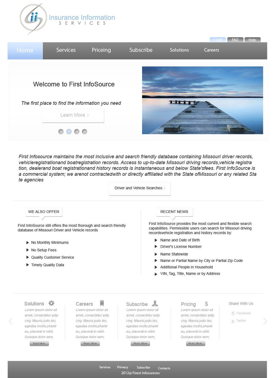 Contest Entry #                                        64                                      for                                         Website Design for First InfoSource