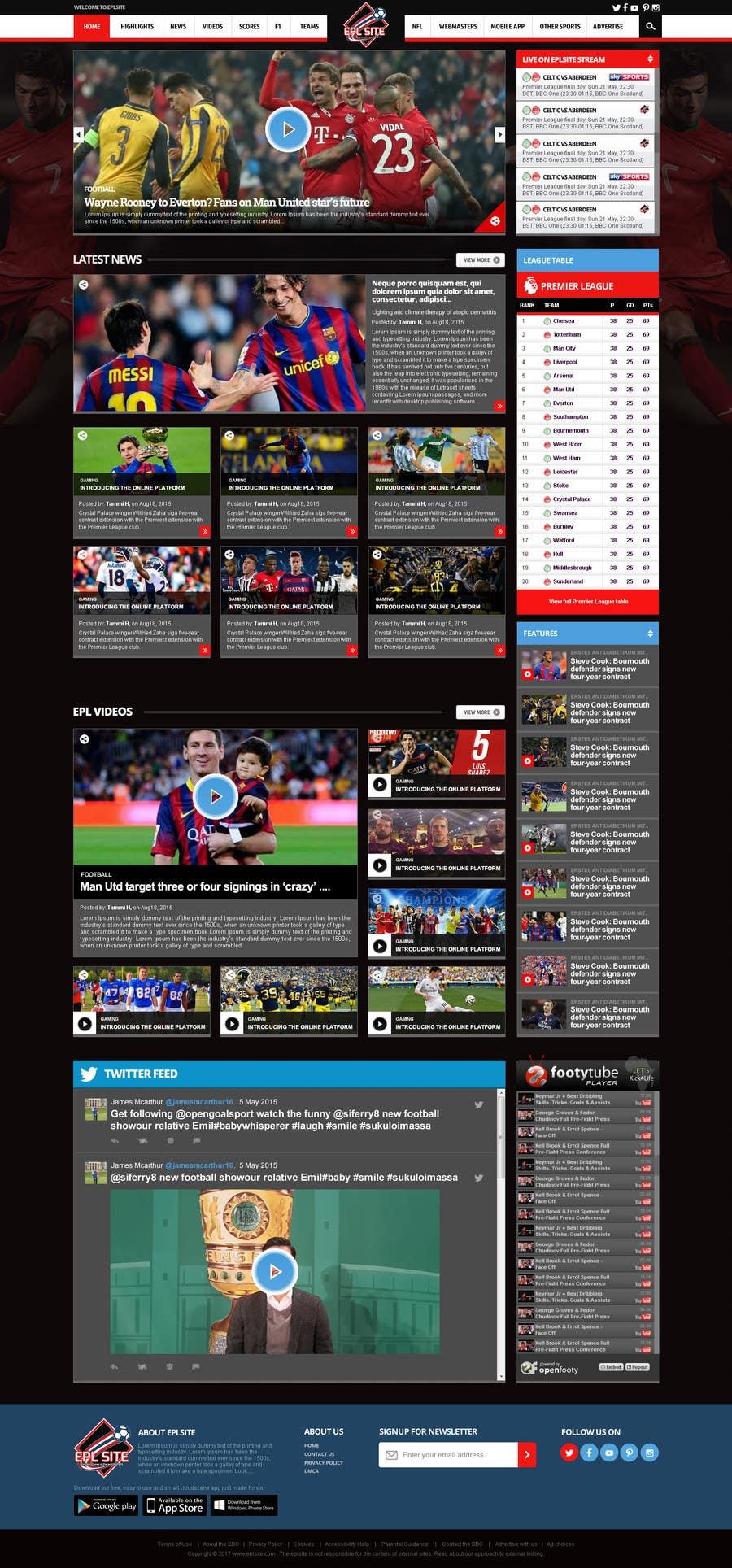 Proposition n°24 du concours Design a Mockup for Football website